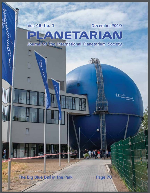 "Cover of journal Planetarian Journal of the International Planetarium Society, Vol. 48, No 4, December 2019. At lower center, a note about another article in the journal, ""The Big Blue Ball in the Park"" page 70. The cover photo is of a large blue planetarium with ladder leading to top."
