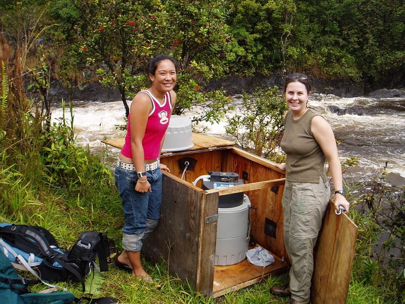 Prof. Wiegner and Randee Tubal stand on the banks of the river with a large wooden box with testing equipment.
