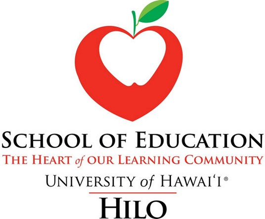 Logo with red apple shaped like a heart and the words: School of Education The Heart of our Learning Community, University of Hawaii HILO