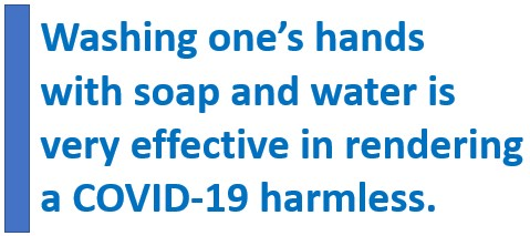 Words: Washing one's hands w is very effective in rendering a COVID-19 harmless.