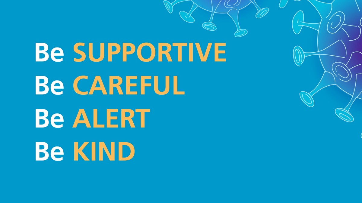 Words: Be SUPPORTIVE, Be CAREFUL; Be ALERT; Be KIND. Drawing of virus in corner.