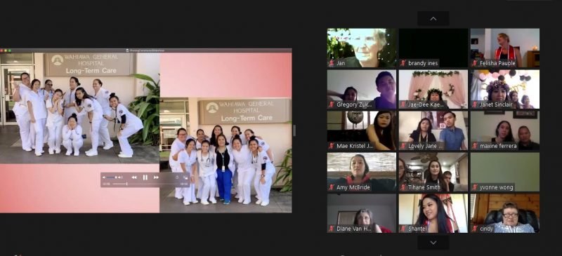 Grid of student attending the virtual ceremonies,, and photo of group of nursing students taken earlier in the semester.