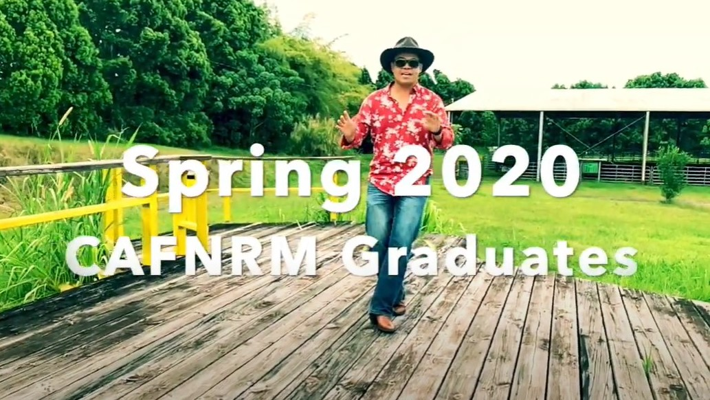 Still for video of Norman Arnacon singing and words: Spring 2020 CAFNRM Graduates