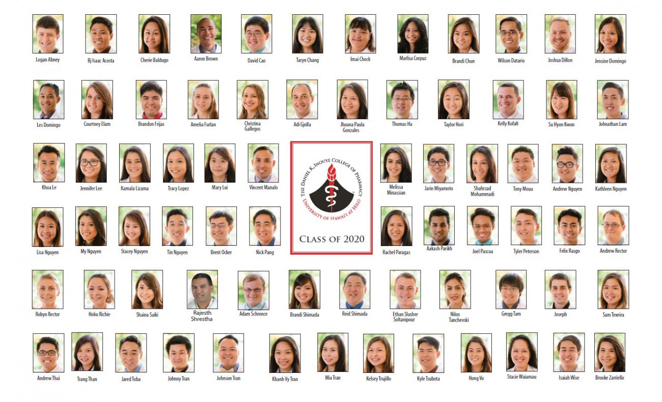 Grid of portraits of the members oif the Class of 2020.
