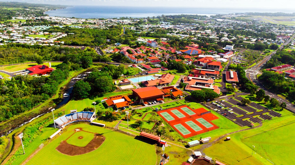 Aerial of the campus and Hilo Bay