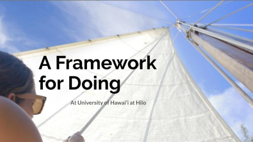 Image looking up the mast of a sailboat, woman at the sail, words: A Framwork for Doing, University of Hawaii at Hilo