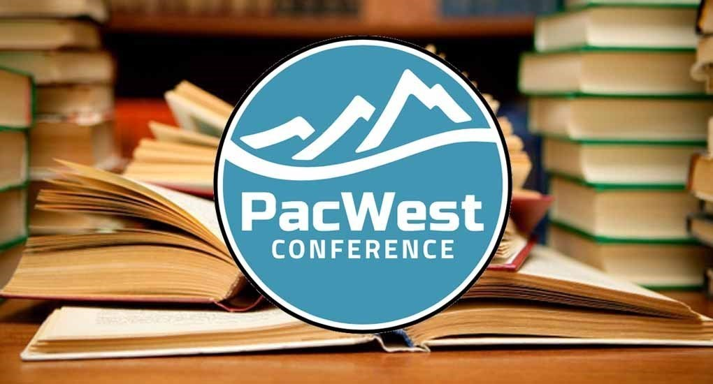 PacWest Conference logo with mountain graphic, books in background