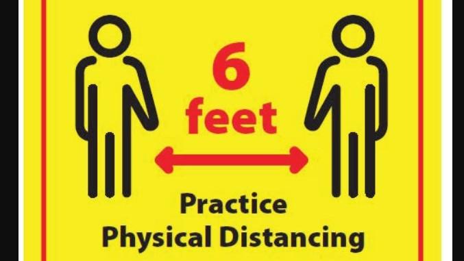 Sign: 6 feet, practice social distancing