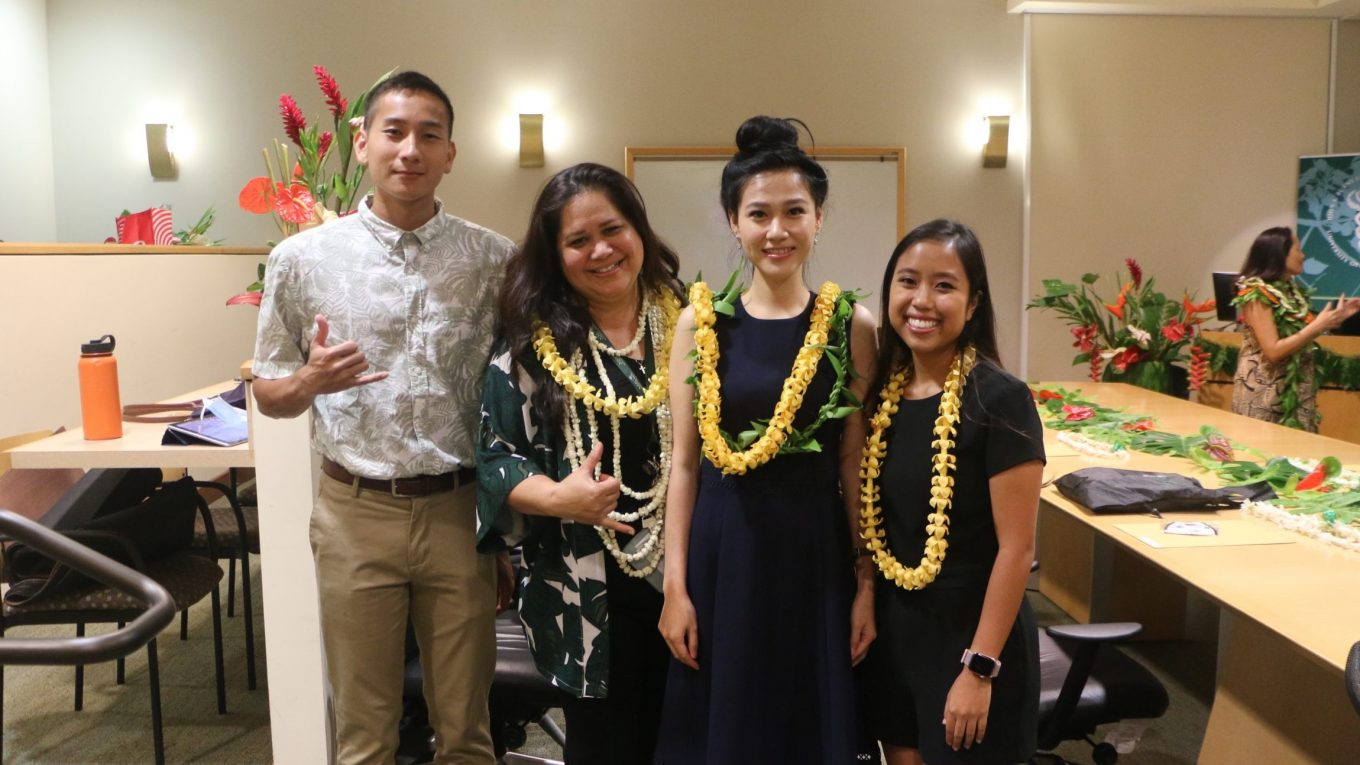 Joshua Illustre, Kimberly Yamauchi, Jennifer Wong, and Melia Takakusagi stand for photo.