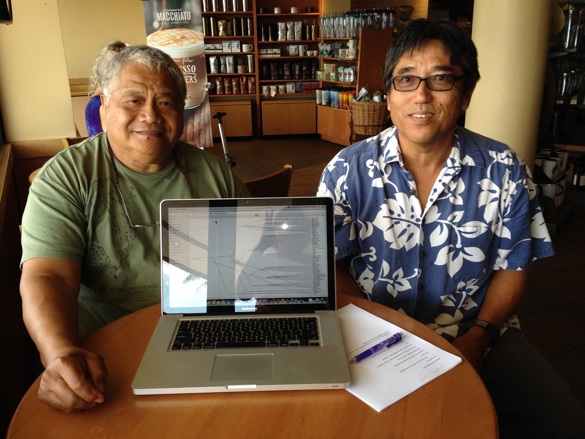 Uncle Jerry and Mike Shintaku in cafe with laptop open on table.