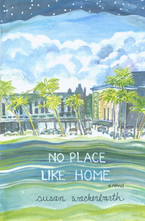 Book cover watercolor of Hilo shop fronts