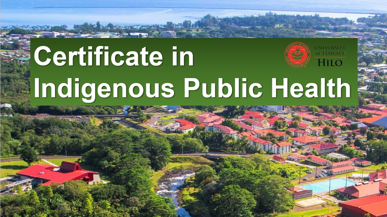 Aerial view of campus with heading: Certificate in Indigenous Public Health