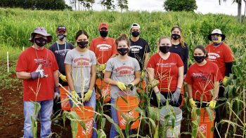 Group of students and coaches stand for photo in a field of corn. All wear masks.