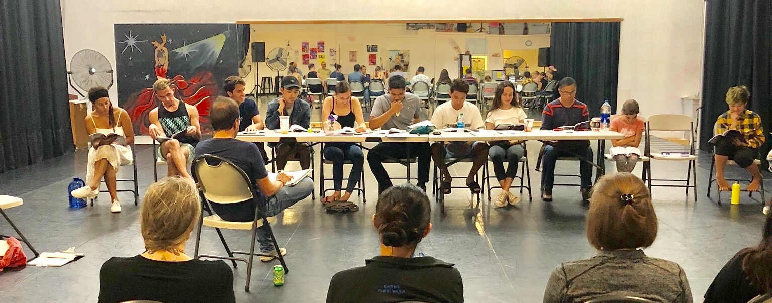 A dozen or so students sit at long table reading from script. Back of heads of three or four observers in foreground.