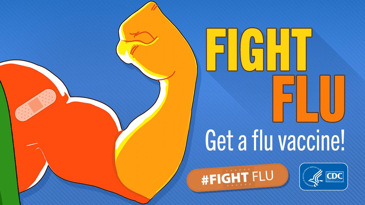 FIGHT FLU with strong arm fist and band aid.