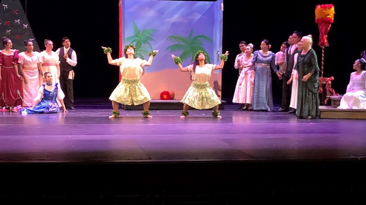 Hula dancers on stage.