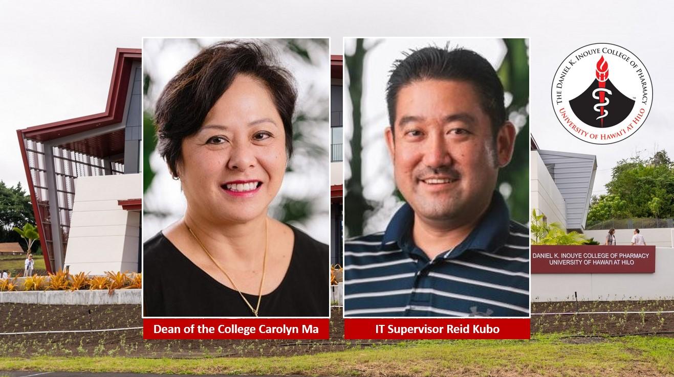 Carolyn Ma, Reid Kubo, and Pharmacy Building
