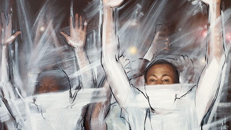 Excerpt of painting, black men with hands up, white paint splashed against them.