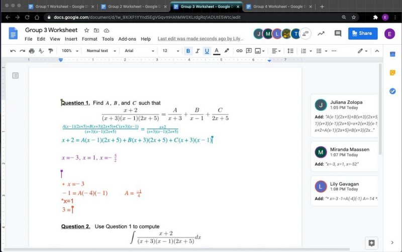 Screenshot of math worksheet.