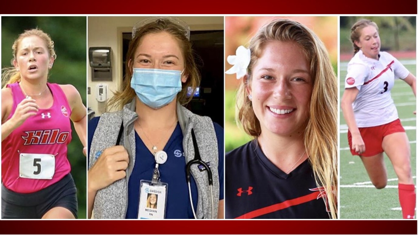 Four photos of Meghan Langbehn: Runing, nurse with mask, Vulcan portrait, playing soccer.