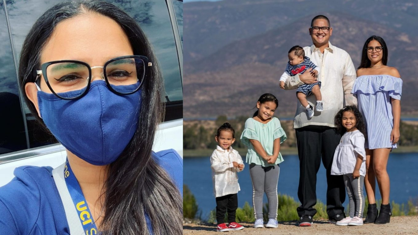 Two photos: Raisa in mask, and Raisa with family.
