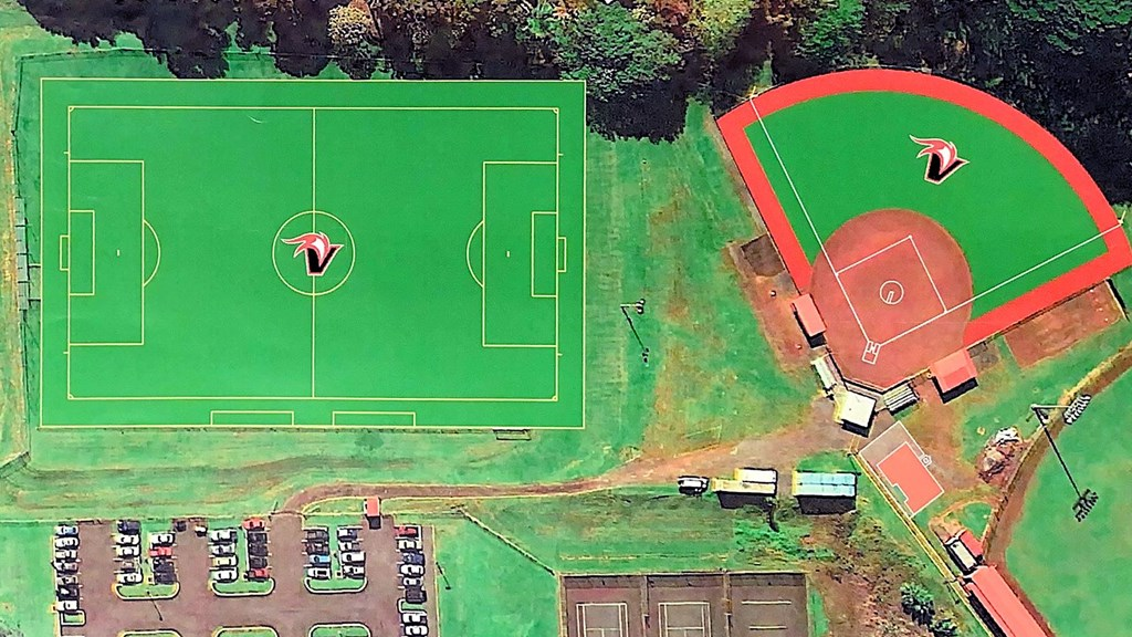 Aerial view, artist rendering of new soccer field and softball field.