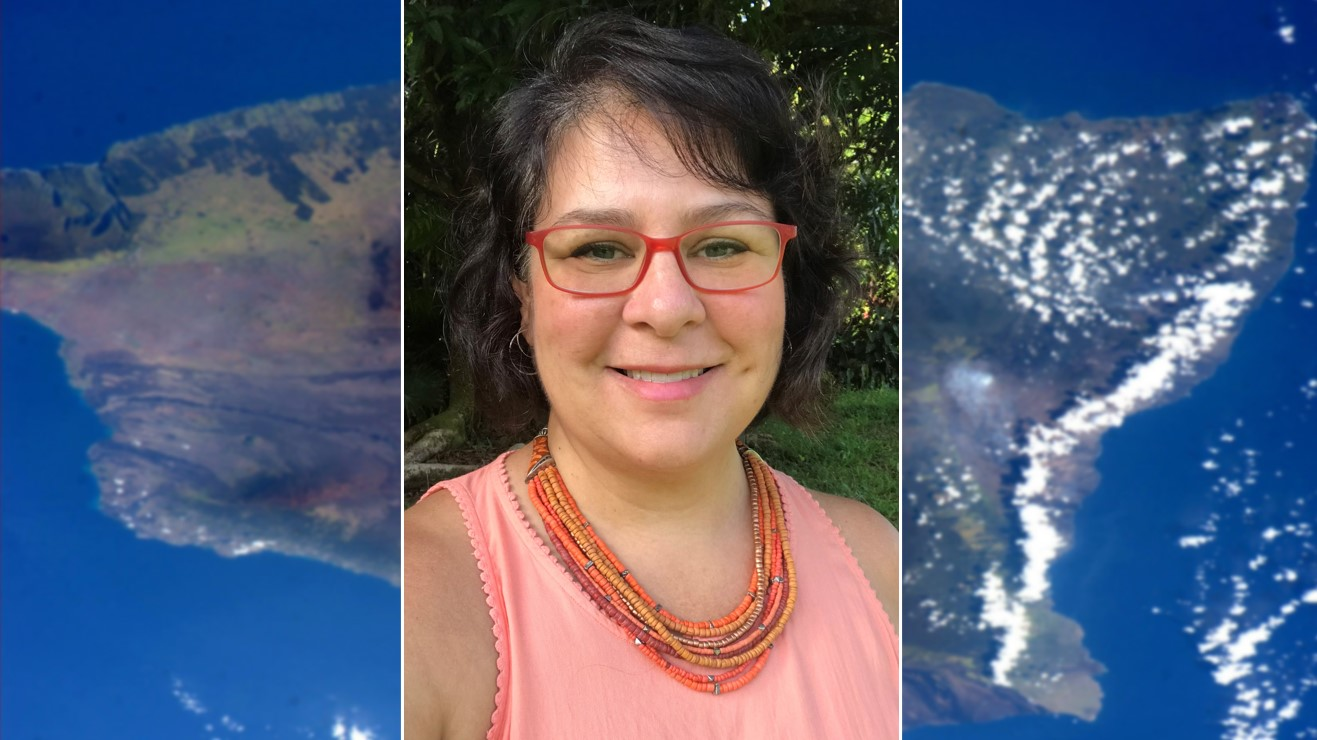 Portrait of Michelle Shuey inset against a NASA image of Hawai'i Island taken from space.