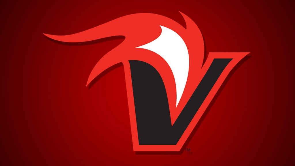 Vulcan logo, V with flame.