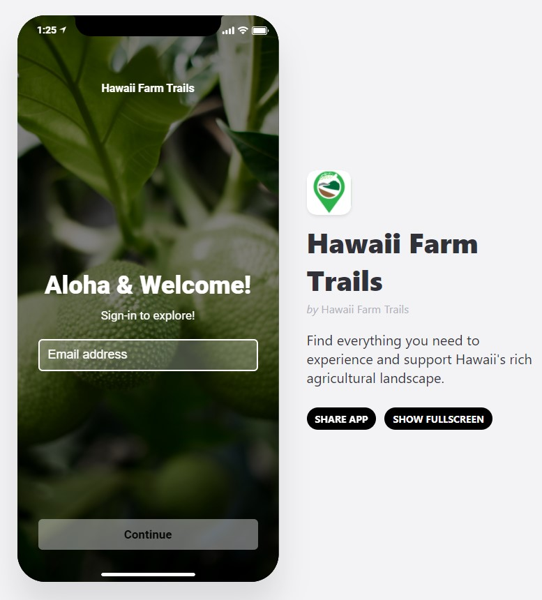 Image of smart phone with Hawaii Farm Trails app on the screen.