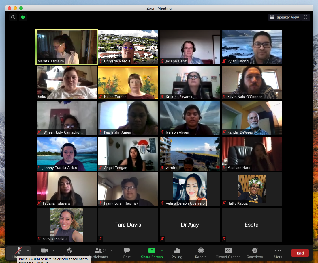 Screenshot of students on Zoom.