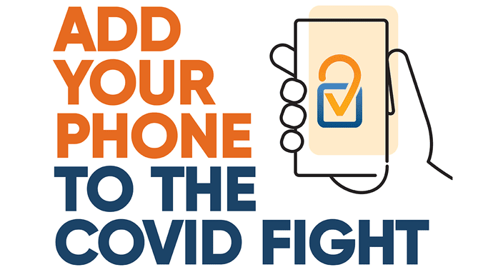 Graphic of hand holding phone with words: ADD YOUR PHONE TO THE COVID FIGHT.