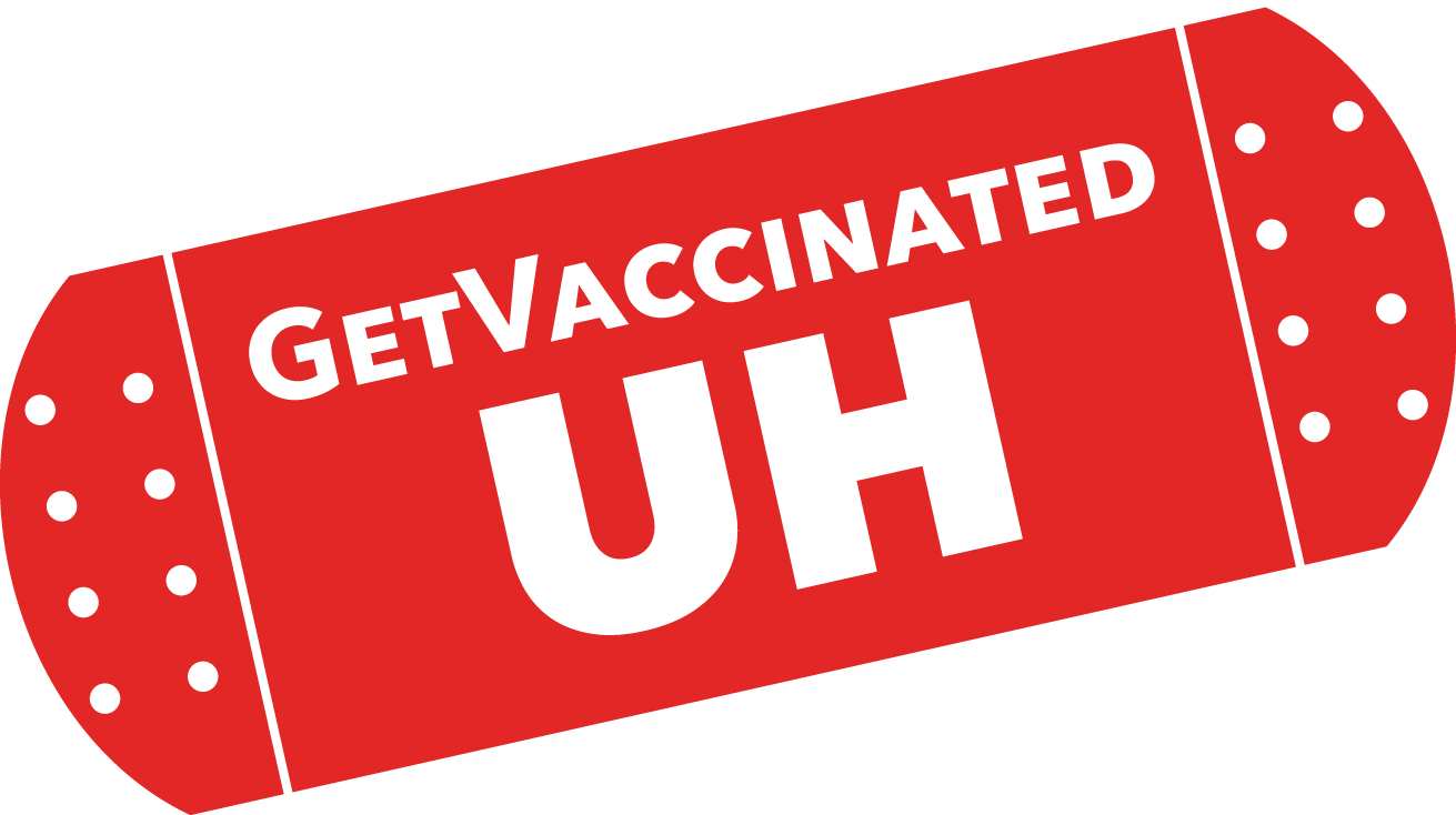 Graphic design of bandaid with words: GetVaccinated UH.