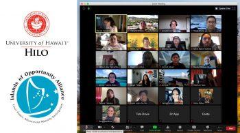 Screen shot of Zoom class, UH Hilo seal, and IOA logo.