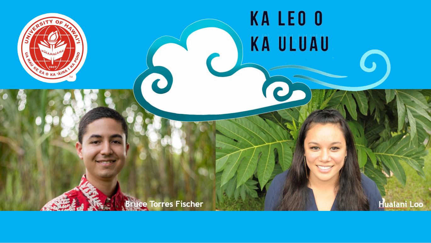 Bruce Fisher and Hualani Loo smile, beneath the Ka Leo O Ka Uluau logo