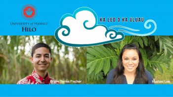 Bruce Torres Fischer and Hualani Loo, UH Hilo seal with flame. Logo of podcast, a graphic design of wind with the words KA LEO O KA ULUAU.