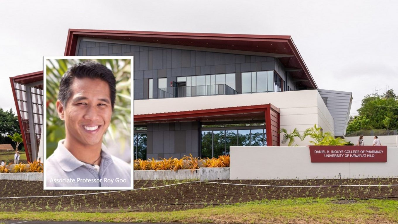 Image of pharmacy building inset with Roy Goo.