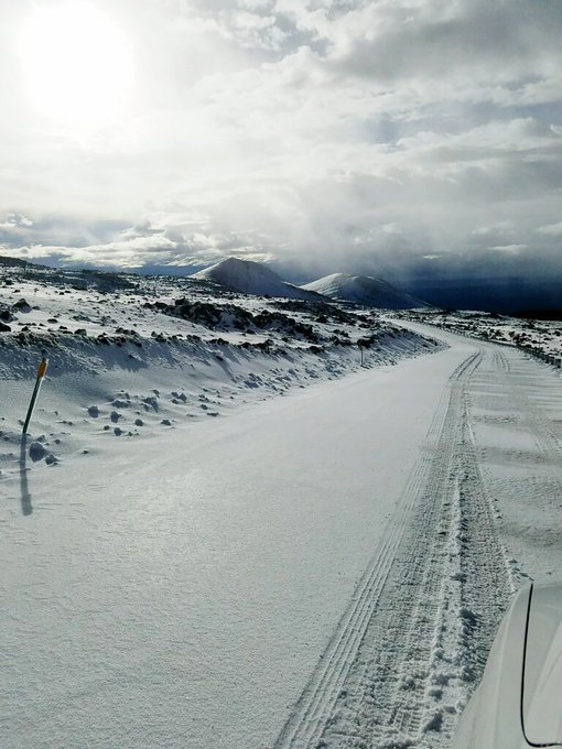 Snow covered road on Maunakea.