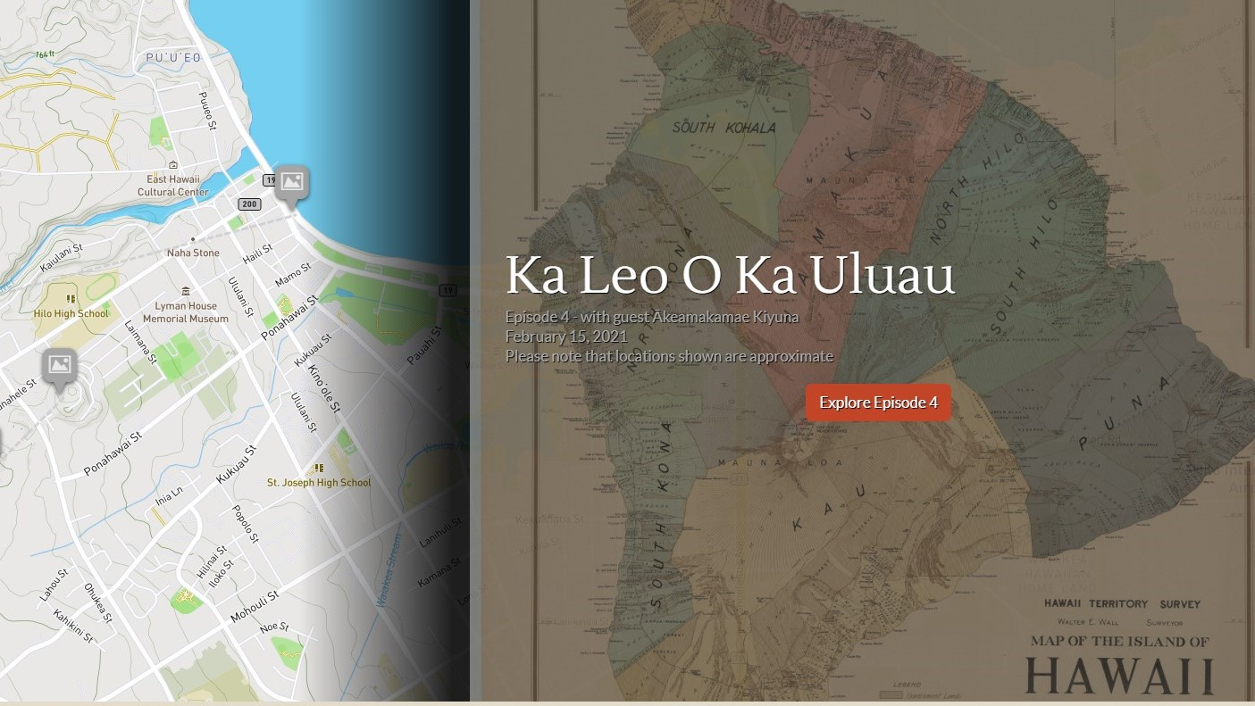 Map of Hilo and aerial view of moku.