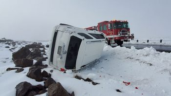 Flipped car in the snow.