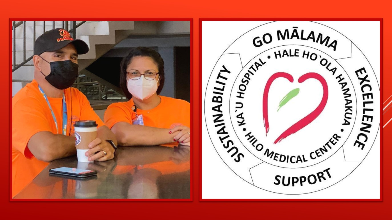 Two images. At left is Arthur Sampaga and a friend standing at a table, wearing masks. At right is the logo for the Hilo Medical Center.