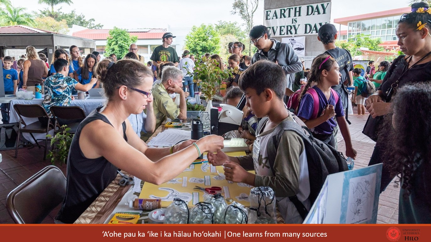 Schoolchildren on the Library Lanai on Earth Day. At bottom of slide: ʻAʻohe pau ka ʻike i ka hālau hoʻokahi/One learns from many sources.