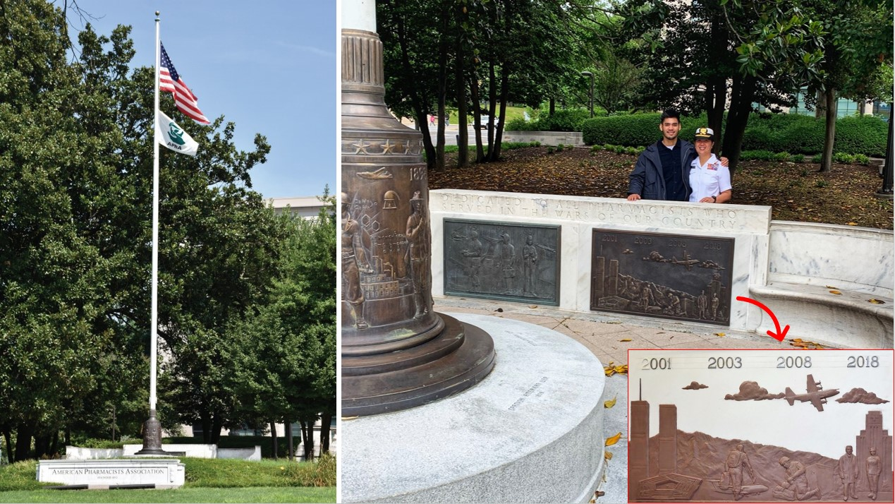 At left, photo of memorial flagpole. At right, Jill and her brother stand next to the updated bronze section showing wars between 2001 and 2018.