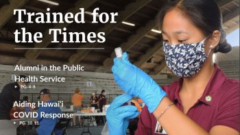 Newsletter cover, student fills a syringe.