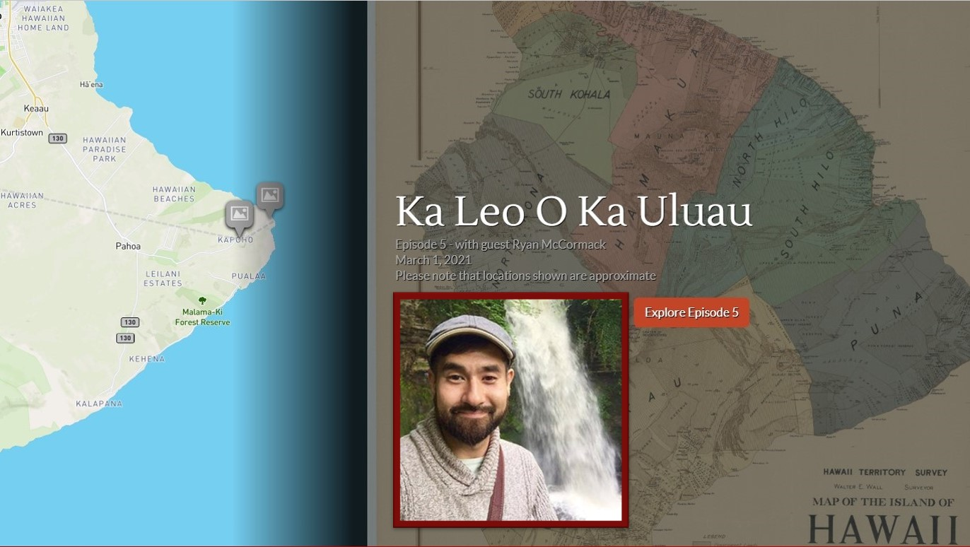 Map of Puna with inset photo of Ryan McCormack and waterfall.