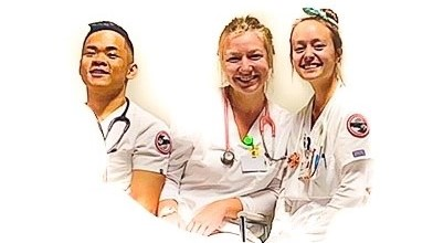 From left, Frank Guillermo, Madeline Bush, and Lokelani Chong in their white nursing uniforms.