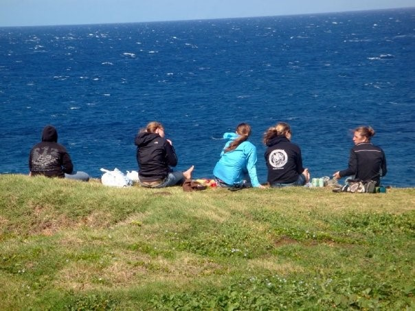 A group of people on a sea cliff looking for whales.