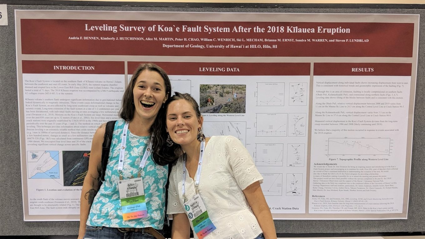 Two students stand in front of poster presentation on Leveling Survey of Koae Fault System After the 2018 Kilauea Eruption.