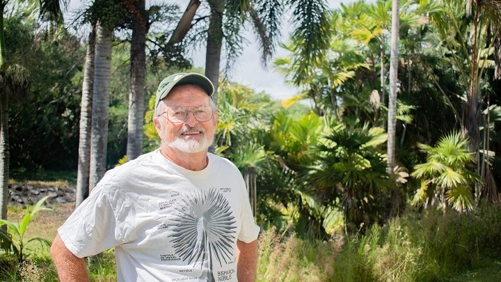 Don Hemmes stands in the gardens.