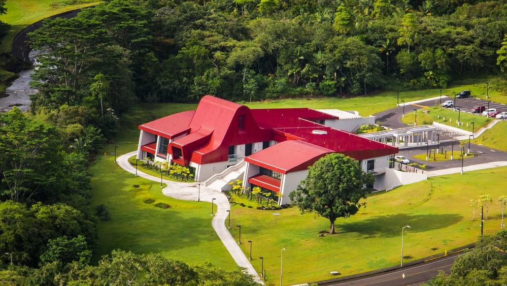 aerial view of Ka Haka ʻUla O Keʻelikōlani College of Hawaiian Language.