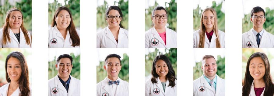 10 portraits of students.